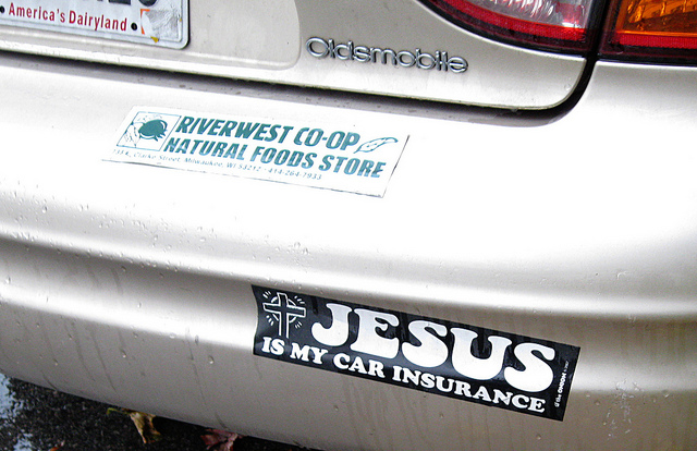 Badge on car: jesus is my car insurance.